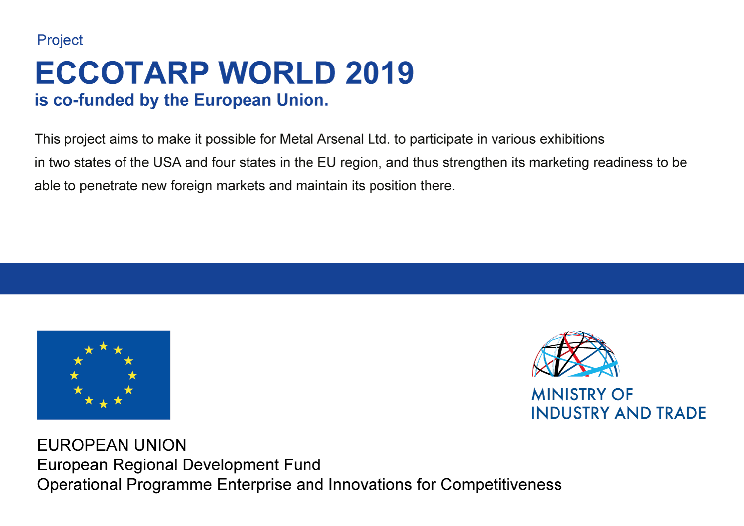 ECCOTARP WORLD 2019 is co-funded by the European Union